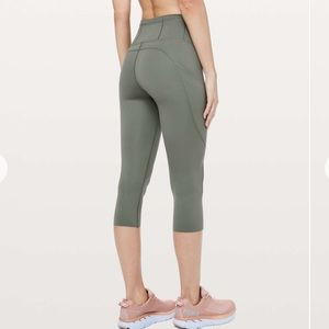 "Lululemon fast and free crop nulux 19"" gray sage"